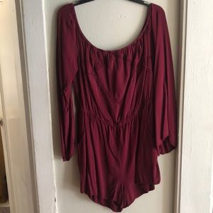 Maroon off the shoulder romper